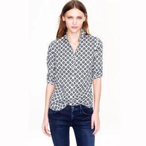 J.CREW Perfect Shirt Foulard Medallion Print Top